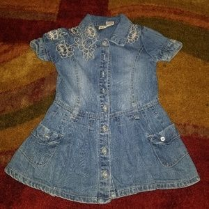 5/$15💣Faded Glory Toddler Jean Dress 3T flowers